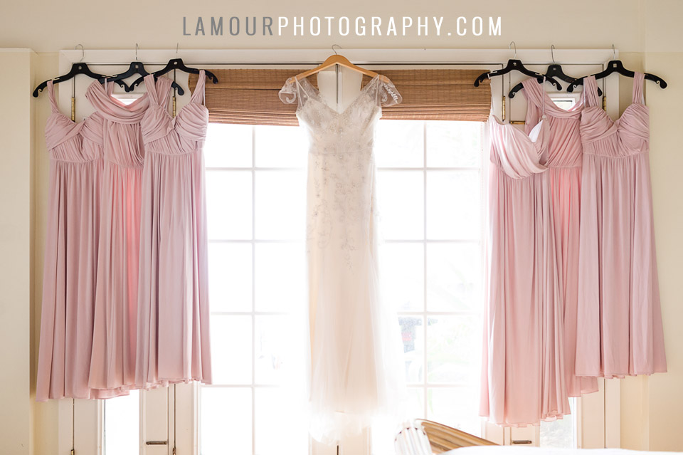 blush pink bridesmaids dresses for hawaii wedding