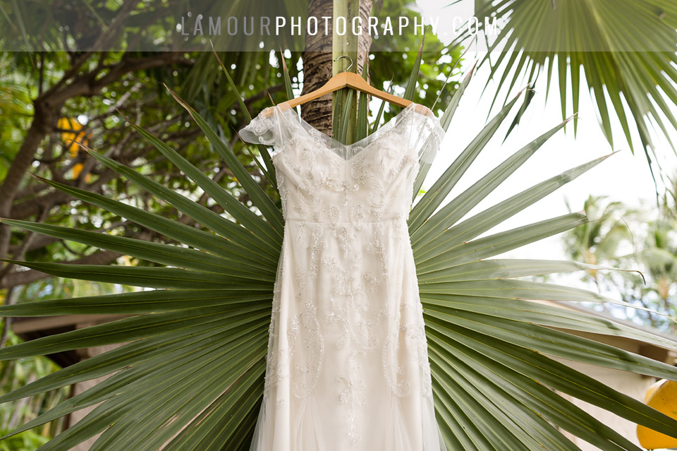 lace and beaded wedding dress for wedding in hawaii