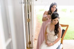 beautiful bride getting hair and makeup done in maui for hawaii wedding