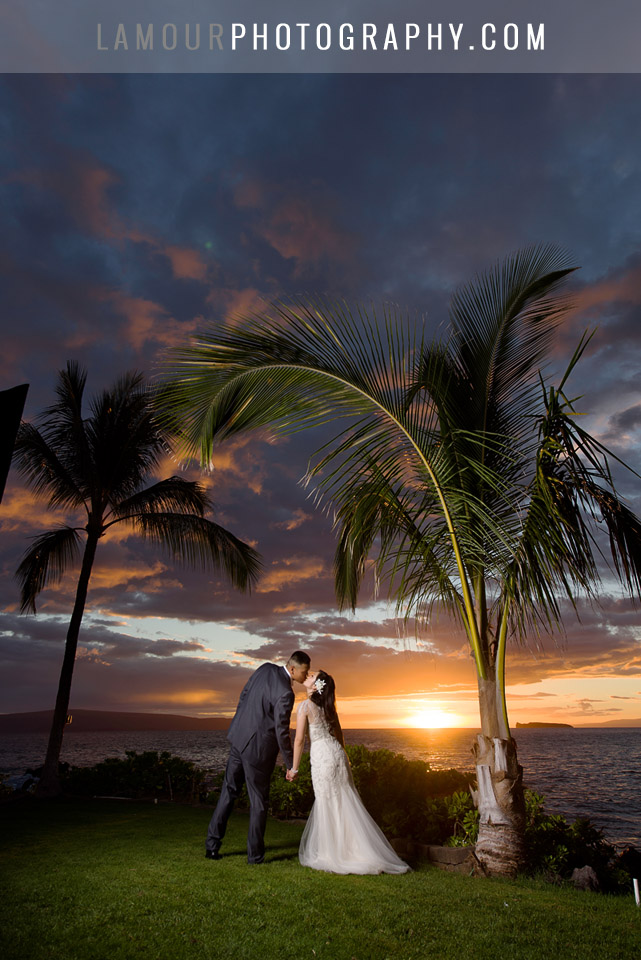 maui sunset wedding photo by L'Amour