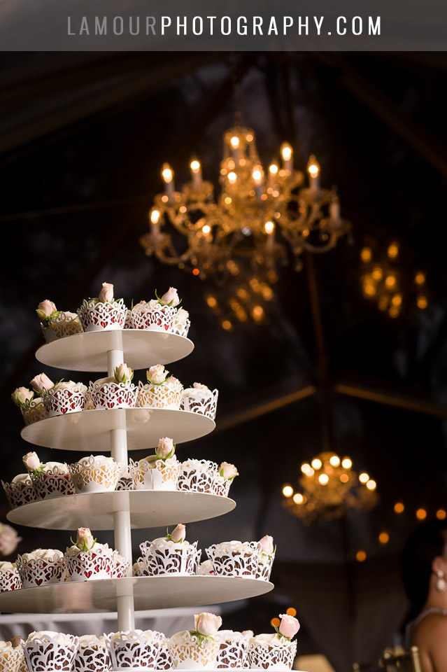 cupcake wedding cake with chandelier at hawaii wedding in maui
