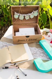 wooden personalized card box and guest book for hawaii wedding