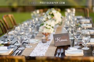 lace and gold wedding decor for maui wedding in hawaii