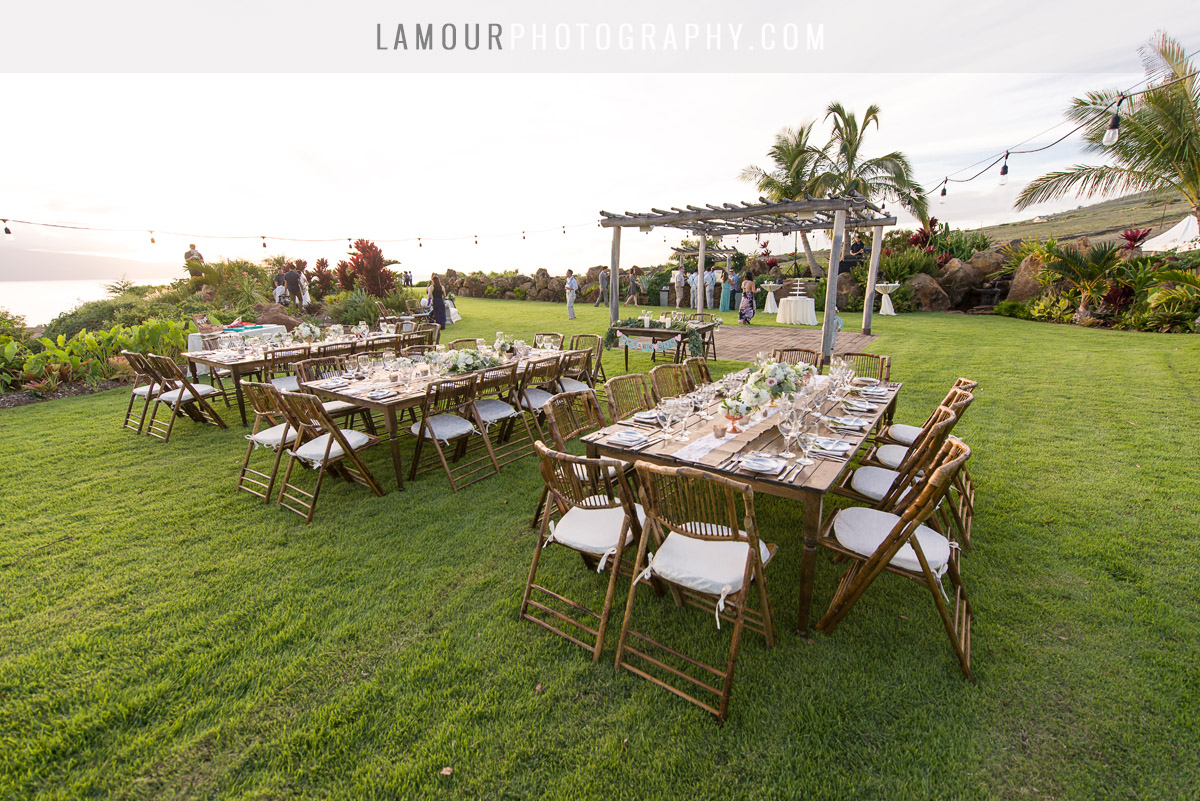Hawaii wedding reception wood tables with lace gold and mint color decor and tdetails