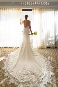Satin and Lace sheath destination wedding dress for Hawaii wedding.