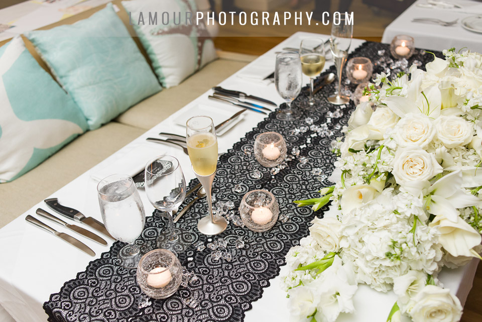 hawaii destination wedding color scheme black lace and blue pops of color