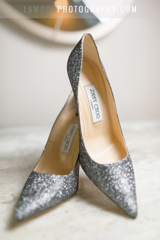 Destination wedding in Maui with glittery silver Jimmy Choo shoes