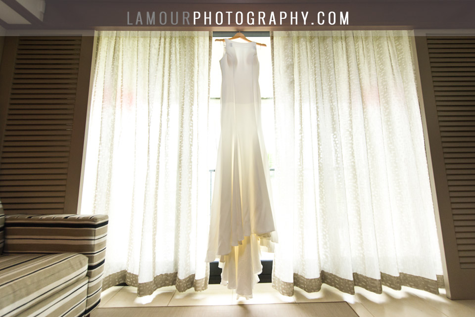 Hawaii destionation wedding dress with classic silhouette and high neckline