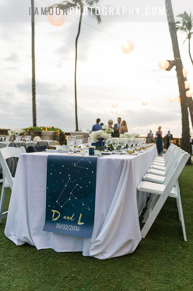 Navy blue, gold and white color scheme with paper lanterns, stars and constellations decor for Hawaii wedding reception