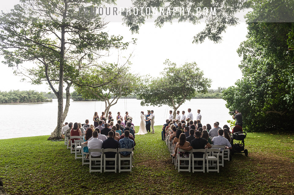 Hawaii wedding ceremony at Kaualoa Ranch