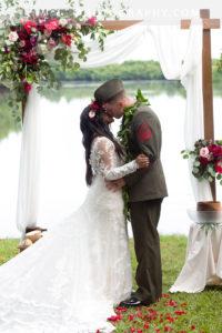 Hawaii wedding ceremony on Oahu at Kualoa Ranch Molii Gardens