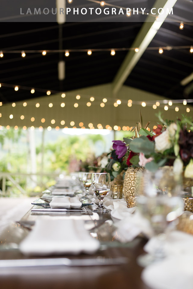 Hawaii wedding reception table at Kualoa Ranch